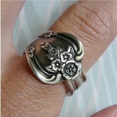 Magnolia Antique Silver Spoon Ring includes Care and by Revisions