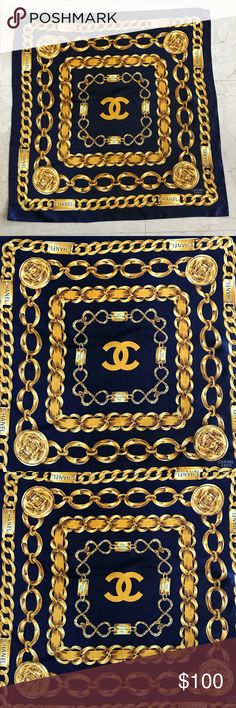 CHANEL SCARF - BLUE Authentic,Used, great condition, 34 x 34 , vintage, smoke & pets free home, thanks for looking CHANEL Accessories Scarves & Wraps