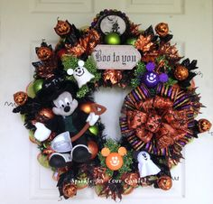 Mickey Mouse Halloween Wreath by SparkleForYourCastle on Etsy, $189.00