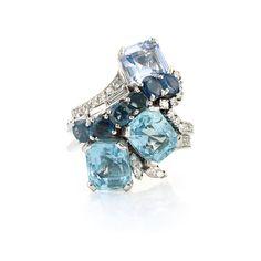 Platinum, Aquamarine, Synthetic Spinel, Sapphire and Diamond Ring, Yard; looooooove