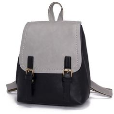 SheIn(sheinside) Double Buckle Two Tone Backpack ($17) ❤ liked on Polyvore featuring bags, backpacks, day pack rucksack, grey backpack, pu backpack, polyurethane bags and grey bag