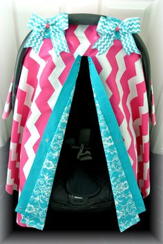 car seat canopy, car seat cover, chevron, teal, hot pink, polka dot, damask, baby, chevron, infant girl, baby girl, baby boy, infant boy on Etsy, $39.99