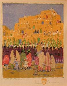La Casa Sena – Historic AND Delicious Santa Fe : Two Casitas Vacation Rentals – Our Santa Fe Blog twocasitas.com   One of the Gustave Baumann paintings on display in the Garden Room