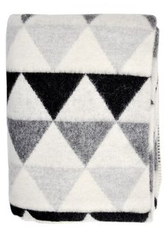 Greyscale Triangles Wool Blanket