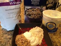 For people who like to eat their shake. Blueberry crunch recipe. 1 cup Greek yogurt, 2 tbls blueberry granola, 2 scoops Vi shape nutritional shake mix. Mix shake and yogurt first the add granola. 32 grams protein, 250 calories, 9 carbs, only 6g sugar. The perfect eaters breakfast.