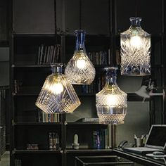 Modern Minimalist Gorgeous Vintage Wine Bottle Pendant Lights Cafe-Room/Bar Decoration Single Pendant Creative Cut Glass Lamps