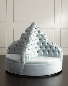 Shop Amour Tufted Party Ottoman from Haute House at Horchow, where you'll find new lower shipping on hundreds of home furnishings and gifts. Round Sofa, Round Ottoman, Tufted Ottoman, Blue Ottoman, Home Decor Furniture, Home Furnishings, Furniture Design, Metal Furniture, Club Furniture