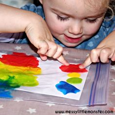 "An easy, no mess rainbow art idea for babies, toddlers and preschoolers. A fun colour learning. rainbow, weather, st patricks day or Spring project. The heart cut out makes this a great valentines day activity for kids too. ""My color is rainbow"" book craft."