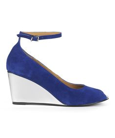 Look at this Cobalt Metallic Suede Wedge on #zulily today!