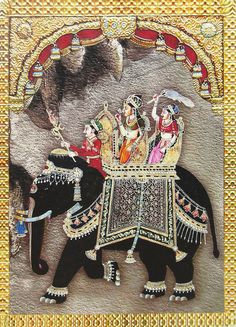Queen Riding on a Royal Elephant (Reprint on Paper - Unframed))
