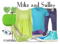 """""""Mike and Sulley"""" by leslieakay ❤ liked on Polyvore featuring Bottega Veneta, Scotch & Soda, Dsquared2, Antonio Marras, Brian Atwood, Golden Goose, Disney and disney"""