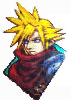 Cloud, Kingdom Hearts 6 Final Fantasy VII Perler Pixel Art by by Regalopia Freak Creations -www.etsy.com/Shop/FreakCreations