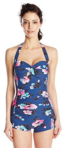 011b7a07d79bd Seafolly Women s Vintage Vacation Boy-Leg One-Piece Swimsuit Boyleg Swimsuit