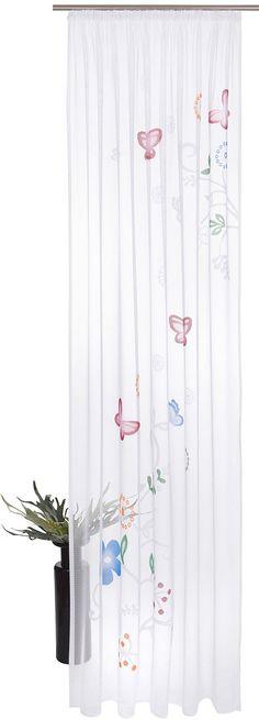 Details:  Die angegebenen Maße sind Stoffmaße. Am Fenster fertig dekoriert reduziert sich die Breite um ca. die Hälfte., Die geschnittenen Seitenkanten verhindern ein Ausfransen nach der Wäsche.,  Design:  Glatte Oberfläche, Gemustert, Mit Motiv, Großes Allovermotiv über die ganze Gardine,  Material:  100 % Polyester,  Pflegehinweis:  waschbar bei 30 Grad, Schonwaschgang, pflegeleicht,  Wissens...