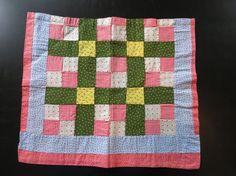 Antique taie patchwork en Pennsylvanie ou sac, c. 1880-1900