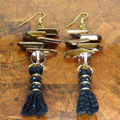 Tassel Earrings/ Leather Earrings/ Black by ChandraJewelry on Etsy