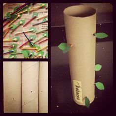 Jack and the Beanstalk. Fine motor skills. made from a kitchen roll tube with holes punched through with a nail. The children then have to poke the matchsticks its glued leaved on to form a spiral, they then have find their names!️Spring Kids ✂️Craft