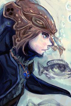 The Legend of Zelda: Twilight Princess, Link / Zora Tunic Link by Tiffany-Tees on deviantART