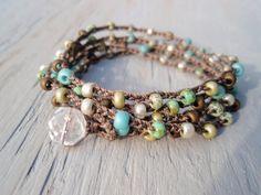 Bohemian crochet wrap bracelet necklace SunDrops by slashKnots, $36.00
