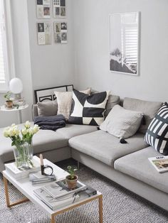 The best places to buy simple, stylish rugs - a guide - grey l-shaped sofa - minimalist design - scandi style living room Scandi Living Room, Living Room Sofa Design, Living Room Windows, Living Room Grey, Small Living Rooms, Rugs In Living Room, Living Room Designs, Living Room Decor, Living Room With Corner Sofa