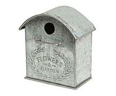Caseta para pájaros decorativa de metal - blanco