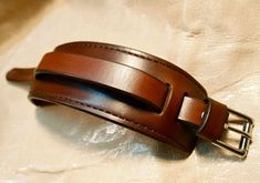 Leather cuff Bracelet brown handstitched custom crafted for