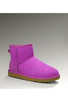 UGG Women's Sheepskin Purple Classic Mini Boots