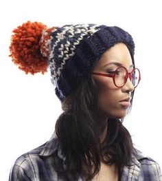 Blue & Orange Wool Pom Pom Hat
