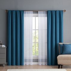 Vcny Diana Window Curtain & Throw Pillow Set, Blue Source by heleneneufeld Curtains Living Room Decor Curtains, Home Curtains, Modern Curtains, Panel Curtains, Bedroom Window Curtains, Curtains Dunelm, Curtains With Sheers, Curtain Ideas For Living Room, Ikat Curtains
