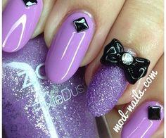 Purple Bow Nail Art | via Tumblr