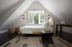 Attic bedroom - use scone lighting to save up on leg room in compact bedrooms.  #bedroom #lighting