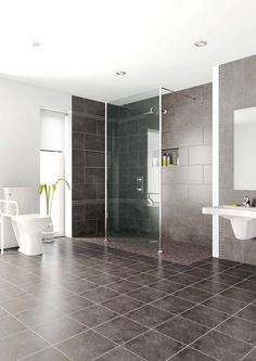 Enjoyable White Modern Walk In Shower Ideas With White Porcelain Toilet And  Gray Granite Wall Panel