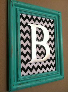The Baeza Blog: Aqua Distressed Monogram Frame {Vaseline Method}