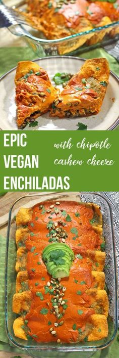 Check out this recipe for the best sweet potato and black bean enchiladas! Learn how to make the best vegan enchiladas, covered in tangy salsa verde and a gooey, chipotle cashew cheese. Healthy Diet Recipes, Vegan Dinner Recipes, Vegan Foods, Vegan Dishes, Mexican Food Recipes, Whole Food Recipes, Vegetarian Recipes, Simple Recipes, Healthy Eating