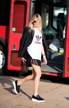 new product 2b5e2 52bdc Camille Charrière Adidas tee meets Stella McCartney flatforms for that  tried-and-true high