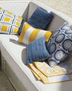 Summer Porch Makeover with Valspar Paint Colors Yellow Outdoor Furniture, Outdoor Sofa, Outdoor Living, Outdoor Spaces, Outdoor Decor, Patio Pillows, Throw Pillows, White Porch, Toilet Brushes And Holders