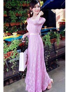 Fairy Style Lady Hook Flower See Through Frills Bandage Long Sleeve Maxi Dresses