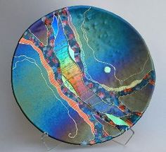 Dichroic fused glass platter
