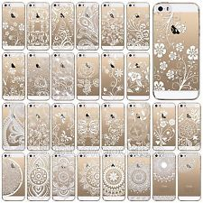 Clear Soft TPU Case Cover For iPhone 5 5S 5C 6S Mandala Floral Sun Paisley Henna