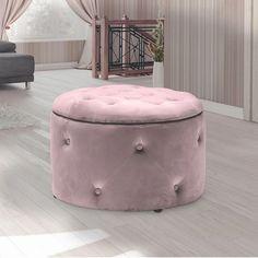 Round Storage Pouffe in Pink - Cleo Range Ottoman Stool, Ottoman Storage, Bedroom Ottoman, Lift Off, Pink Velvet, Stylish, Leather, Stools, Boxes