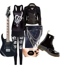 rock n roll by steamynightmare on Polyvore featuring polyvore fashion style River Island Glamorous Dr. Martens