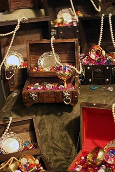 """Tribesmaid Sandy wanted guests to """"treasure"""" her wedding and the awesome times they'll have there… so she's making treasure chest centerpieces for the tables! This pro…"""