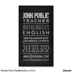 Teacher Tutor Chalkboard Standard Business Card More