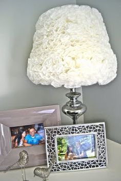 Lampshade made out of coffee filters.  Precious!