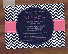 Bridal Shower Invitation or Baby Shower Invitation - Preppy Chevron - Modern - Navy, Blue, Hot Pink, Pink (DIY Printable)