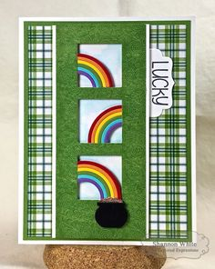 Lucky Pot of Gold Card by Shannon White #Cardmaking, #StPattysDay, #LittleBitsDies, #ShareJoy, #TE