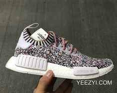 """e34c9b1510654 Women Men Adidas NMD R1 """"Color Static"""" White Black-Mutli-Color Outlet Where  To Buy SKU 183815-548"""