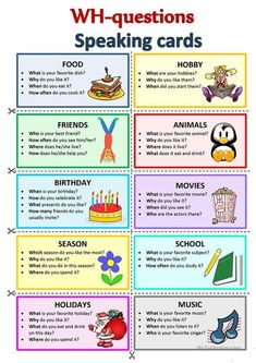 WH-Questions Speaking cards - English ESL Worksheets for distance learning and physical classrooms English Games, English Activities, English Writing, English Study, English Lessons For Kids, Learn English Words, Esl Lessons, Speak In English, Fun With English