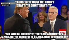 Anderson Cooper said what every sane Republican has been thinking. http://www.usmagazine.com/celebrity-news/news/anderson-cooper-scolds-donald-trump-thats-the-argument-of-a-5-year-old-w200853 #NeverTrump #TedCruz2016 #CCOT #TeaParty