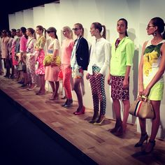 A glimpse at J. Crew's colorful spring 2013 collection. Photo by the WSJ's Elizabeth Holmes. #nyfw